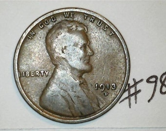 Lincoln Wheat Penny / Key Date 1913 D /  No.98