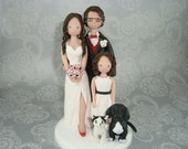 Wedding Cake Topper - Personalized Family with Pets