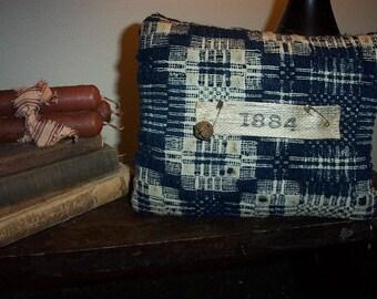 Primitive Antique Coverlet Pillow,Blue,Cupboard Tuck