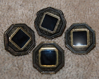 Vintage 4 Victorian Style Black Fancy 14mm  Buttons P2R