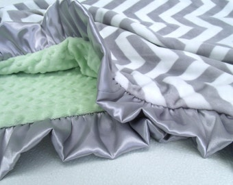 White Gray Chevron with Sage Mint Green Minky Baby Blanket - Adult Blanket Can Be Personalized