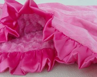 Hot Pink Minky Baby Blanket, Hot Pink Rose Swirl, Hot Pink Ruffle