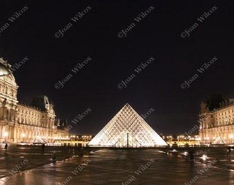 Midnight Louvre Pyramid Night Paris France Original Photo Print