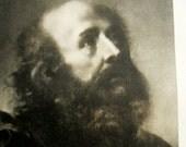 Moses portrait, 1910 antique engraving, Hebrew prophet, religion, old print, vintage bookplate