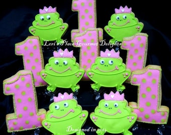 Princess Frog 1st Birthday - 12 Cookies
