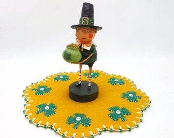 St. Patrick's Day Penny Rug with Resin Leprechaun Figurine