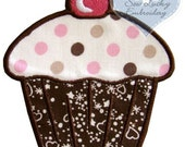 Polka Dots Cupcake Applique Embroidered patch, Sew or Iron on