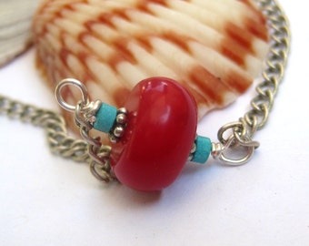 Red coral necklace, delicate chain, Southwestern style