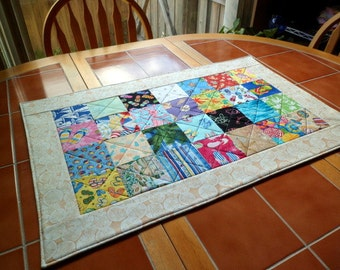 Quilted Summertime Table Runner - 19 in. x 30.5 in. / Table Topper / Centerpiece / Table Linen / beach / flip flops / patchwork / seashell