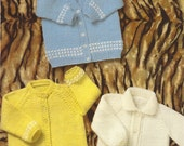 PDF Knitting Pattern Knitted Baby Cardigans and Jacket (C280)
