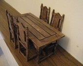 Tudor table and four chairs, table and chairs, dollshouse table,  Miniature table and chairs, dollhouse set, twelfth scale