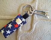 Chap stick Holder, Lip Balm key chain, chapstick case, lip stick, Lipbalm case cozy-Star Red White Blue
