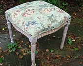 SALE -Vintage COUNTRY FRENCH Upholstered Foot Stool, Elegant extra seating:  Estate purchase - hand carved, upholstered - early 1900's