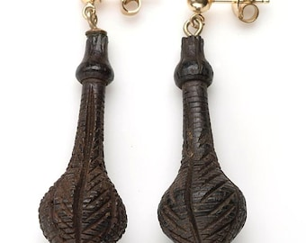 FREE US SHIPPING - Delicately Hand Carved Bog Oak Drop Earrings:  Pierced earrings with gold posts - Rare Victoriana