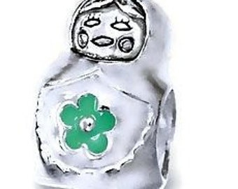 Russian Doll Charm Bracelet Bead 925 Sterling Silver with Green Flower