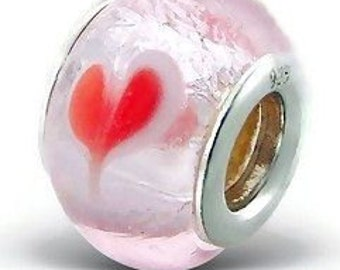 Murano Glass Bead Bracelet Charm. Sterling Silver Core. Pink with Love Hearts