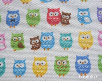 "Scrap - Kokka Colorful Owls Natural - 110cm/43""W x 45cm/17.7""L - (i130910)"
