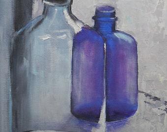 "Still Life Painting,  Bottle Still Life, Impressionist Art, ""Antique Bottles"", 8x10"" Oil"