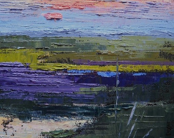 "Marsh Landscape, Palette Knife Landscape, ""Colors of the Marsh"" 8x8"" Oil Painting"