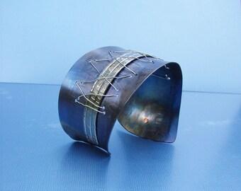 NEW Blue Moonlight   Anodized Titanium Art   Bracelet one of a kind Design by Modernart999  studio Canada BC