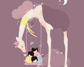 LARGE Animal Kids Purple Nursery Giraffe Art Print -  'A Day at the Park' by Schmooks