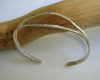 Sterling silver bracelet Split cuff-hammered and forged metalsmith work-Handmade