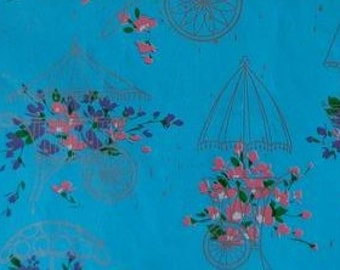 Vintage Gift Wrap 1950s Shower Theme Wrapping Paper Bright Turquoise Print with Silver  Flower Carts