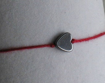 Valentine Wish Bracelet with heart shaped hematite bead on red cotton cord