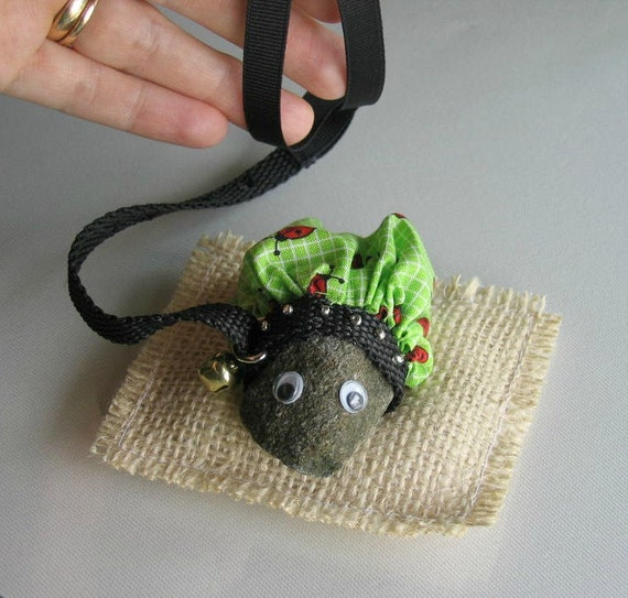 Real Pet Rock on a Leash with ladybug outfit and burlap bed.