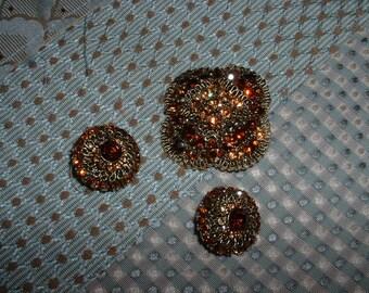 Stunning Vintage Amber Rhinestone Brooch and Clip Earrings