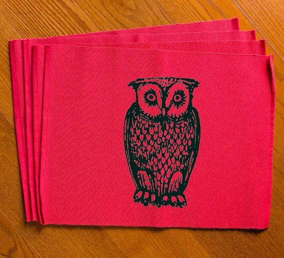 Owl Placemats Set Of 4 Room Decor Bird Kitchen Decoration