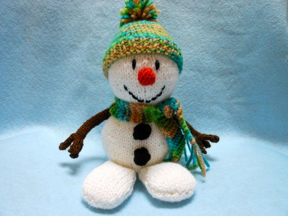 Snowman Knitted in Sparkling Yarn with Floppy Feet, Christmas ,Holidays,Home Decor