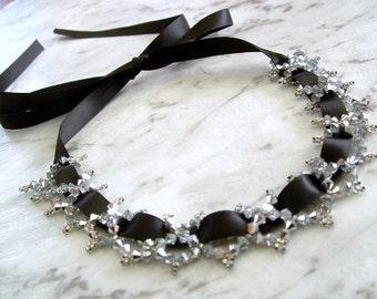 Sparkly Swarovski Crystal and Black Ribbon Choker Necklace