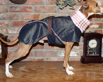 "FREE US SHIPPING Navy Blue Denim Dog Coat  Size 16"" (#00019)  Italian Greyhound, Chinese Crested, Min Pin, Bedlington Terrier, Small Dog"