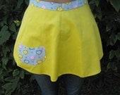 Sweet Vintage Reversible Apron Handmade Hearts Gray Yellow Pink