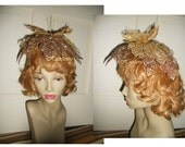 Fairy cap crown hat gold copper glitter lacey leaves Fantasy costume