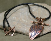 Mens Necklace, Unisex Jewelry, Womans Necklace, Leather Necklace, Copper Pendant Necklace, Native American Design, Handcrafted Jewelry