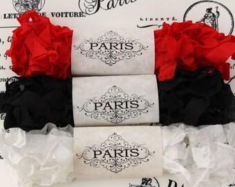 Seam Binding, Scrunched Ribbon, Shabby Ribbon, Crinkled Ribbon,Rayon Ribbon, Black,Red,White, French Vintage,Scrapbooking, Paris Burlesque