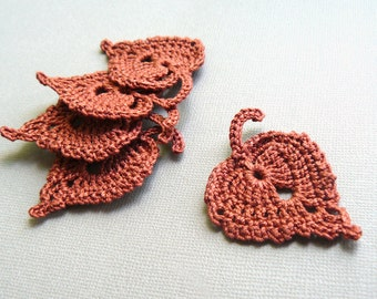 5 Crochet Leaf Appliques -- Rust Birch Leaves