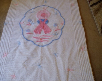 Handmade Little Pink and Blue Country Child Crib Quilt/Chenille 1950s Top Used in blanket