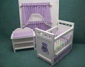 One Inch scale, Three Piece, Lavender Checked, Dollhouse Nursery Set