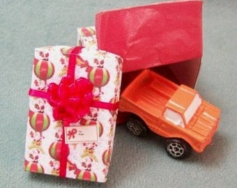 Holiday Sale 40% Off - Miniature Toy Truck in a Balloon Christmas Box with a Red Bow