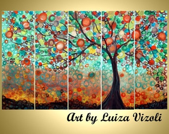 SALE Original Large Whimsical OLIVE Tree Painting Huge Boho Fantasy Landscape Made to ORDER- Reduced Price for Limited Time