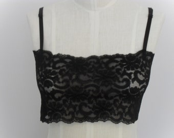 Bralette in Black Stretch Lace with Black Adjustable Bra Straps