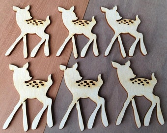 12 Pieces- Craft Wood Shapes Little Deers