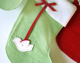 Christmas Stocking Green with Dove
