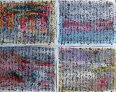 Abstract four painting calligraphy art set paintings sjkim art abstract Art ink acrylic expressionism art