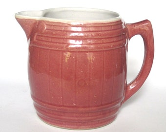 Vintage Rose Pottery Barrel Shape Beverage Pitcher Unusual Cottage Ware