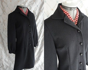 60s Dress // Vintage 1960s Black Mod Circle Textured Poly Mini Dress with Cute Buttons Size M L