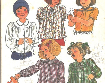 Vintage Sewing Patterns Girls Blouse 1970s Butterick 6306 Collars Puff Sleeves Size 4